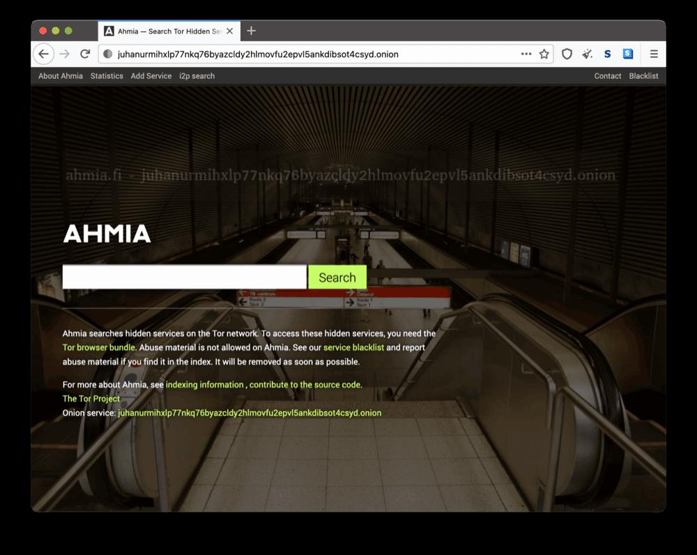 Ahmia's onion site on the dark web