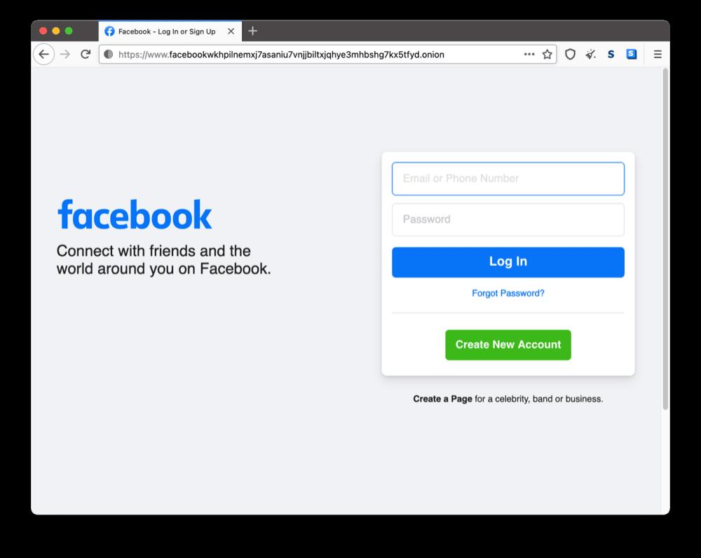 Facebook's onion site on the dark web
