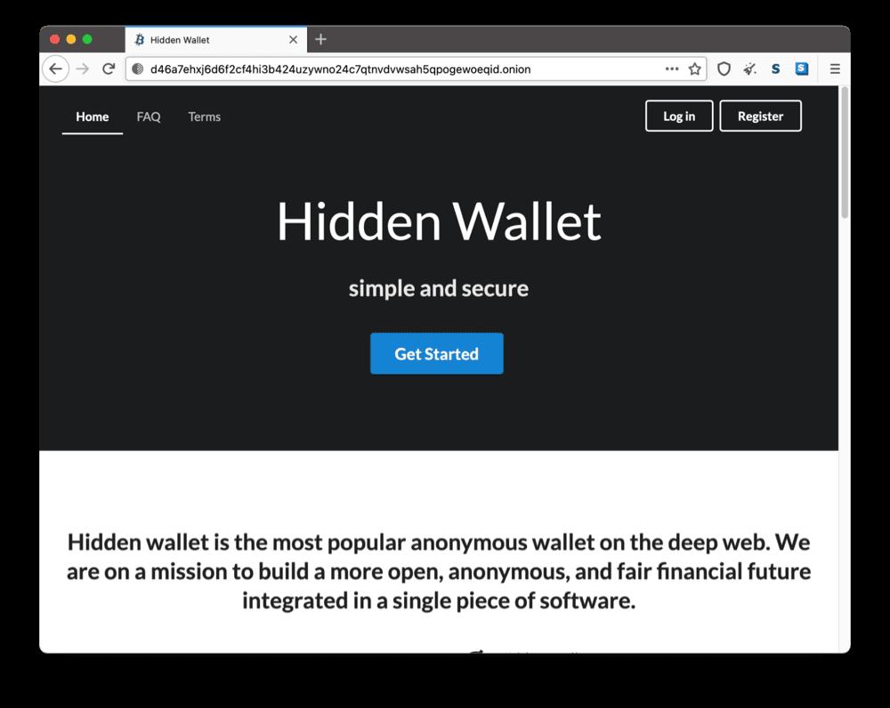 Hidden Wallet's onion site on the dark web