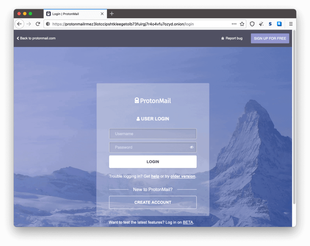 ProtonMail's onion site on the dark web