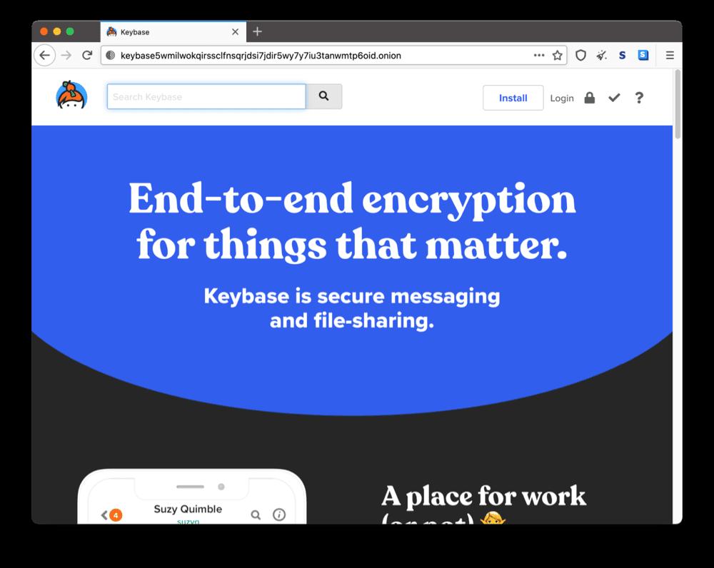 Keybase's onion site on the dark web
