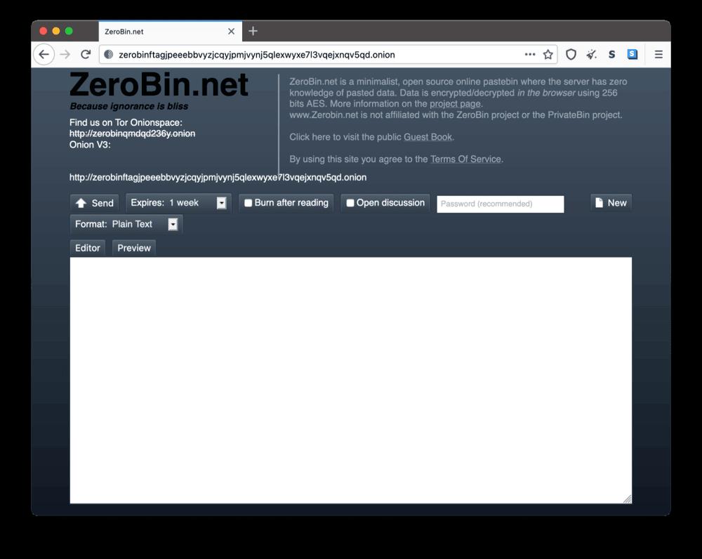 ZeroBin's onion site on the dark web