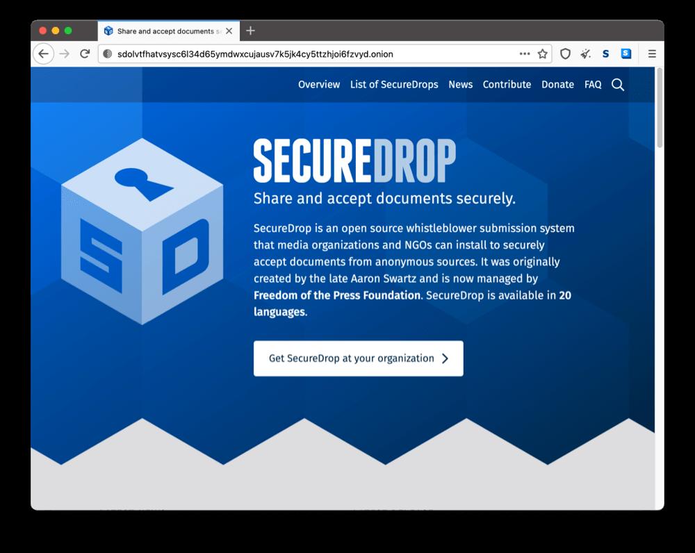 SecureDrop's onion site on the dark web
