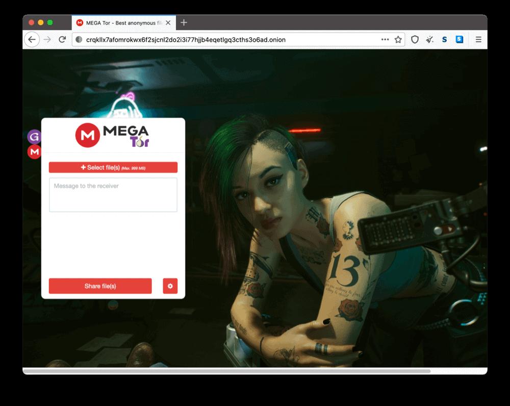 MegaTor's onion site on the dark web