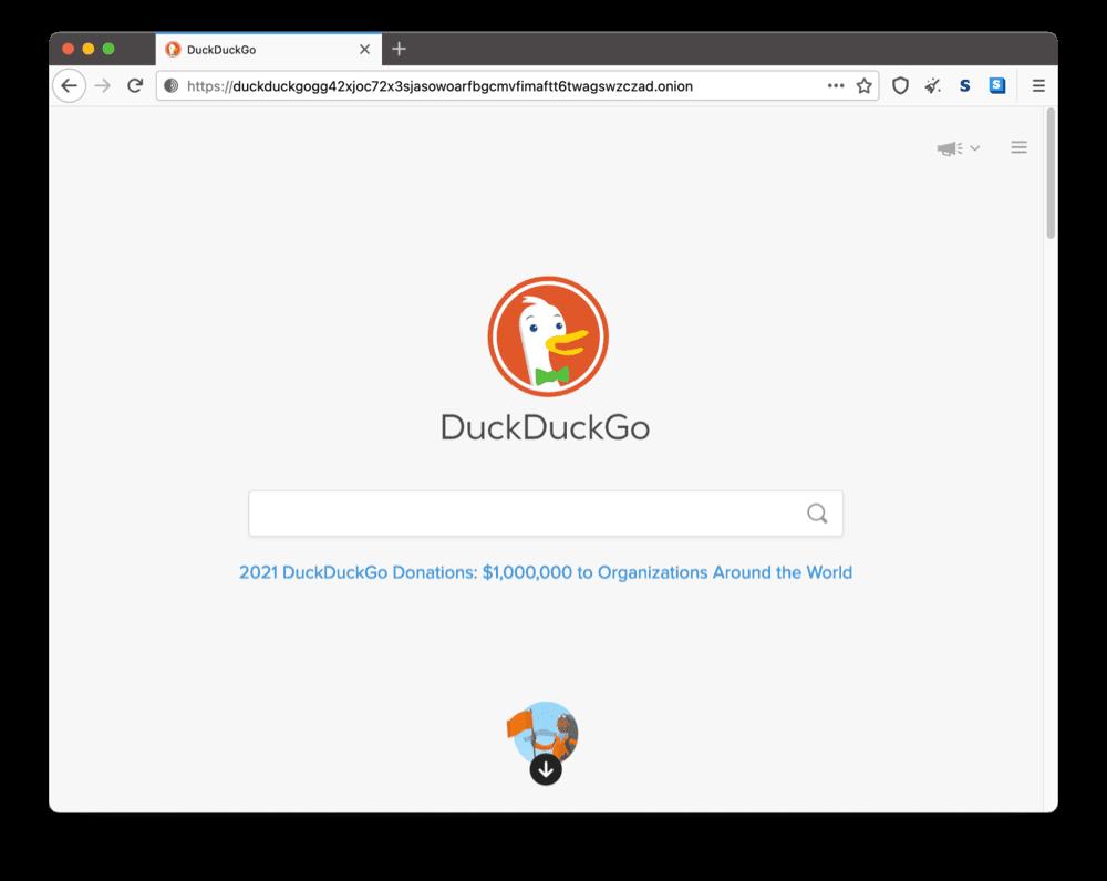 DuckDuckGo's onion site on the dark web