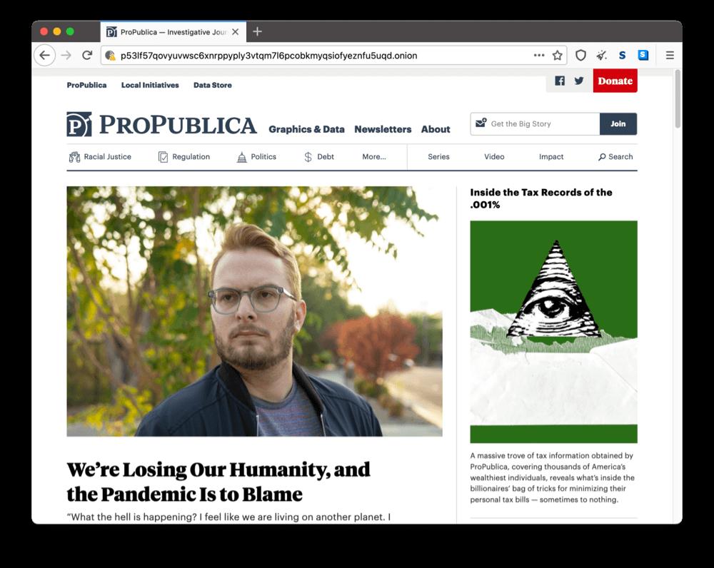 ProPublica's onion site on the dark web