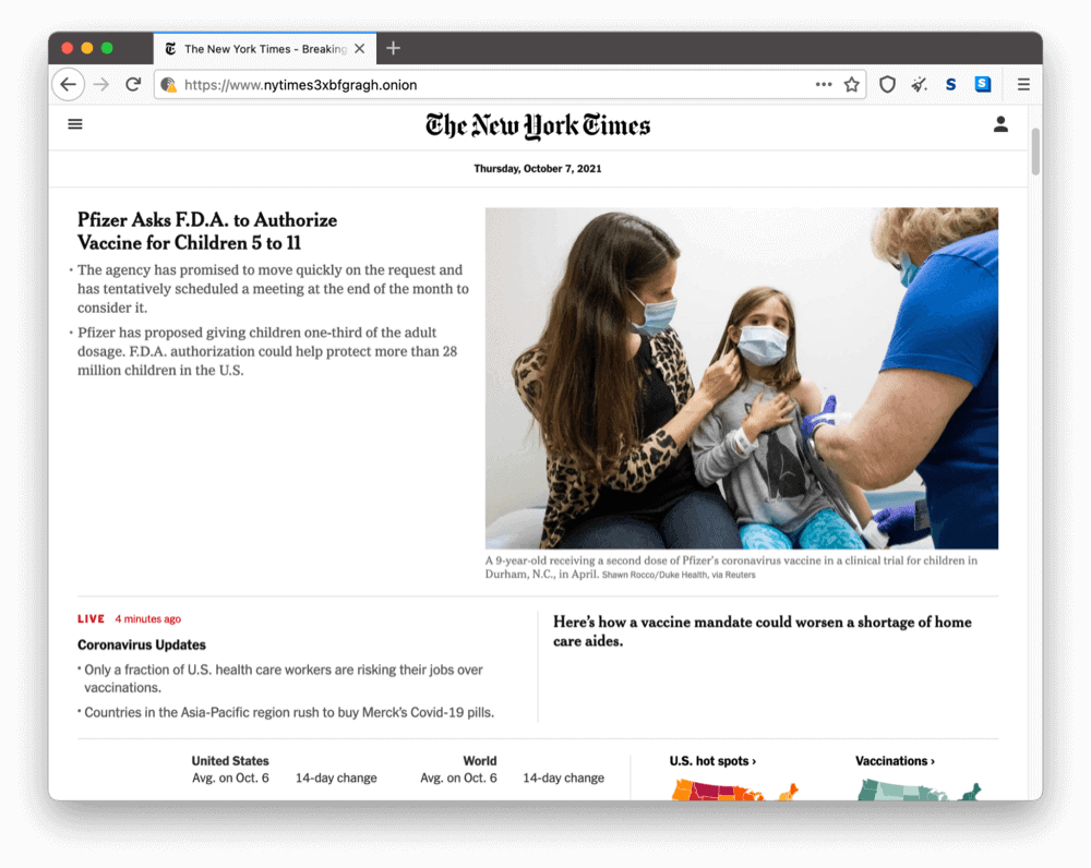 The New York Times's onion site on the dark web
