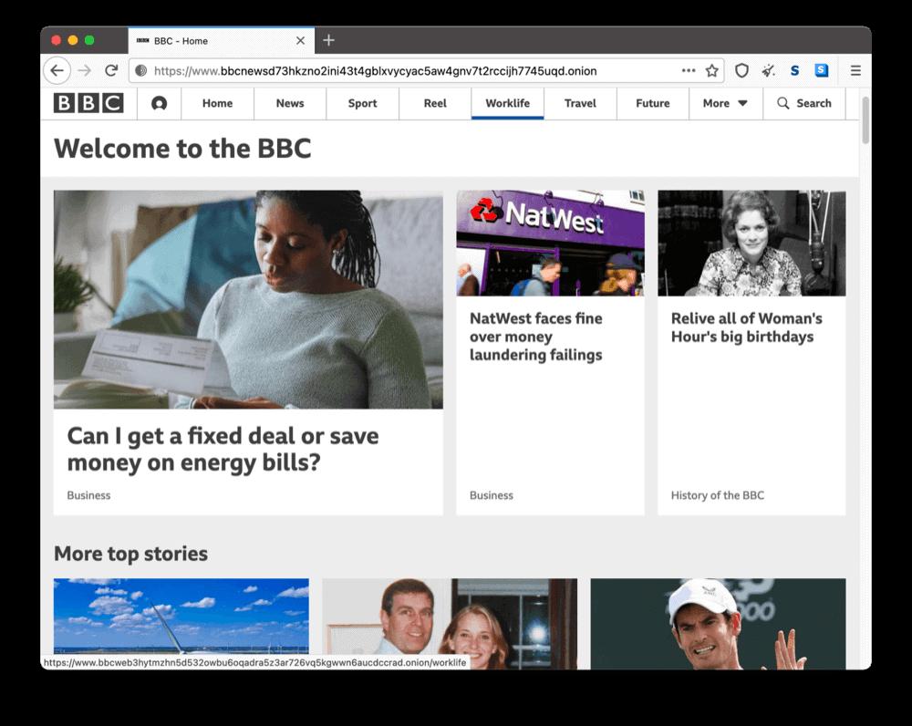BBC's onion site on the dark web