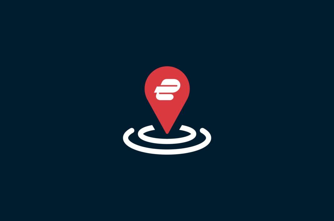 ExpressVPN logo on map pin.