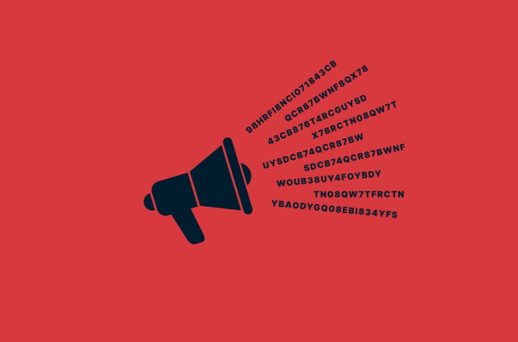 Megaphone with encrypted messages coming from it.
