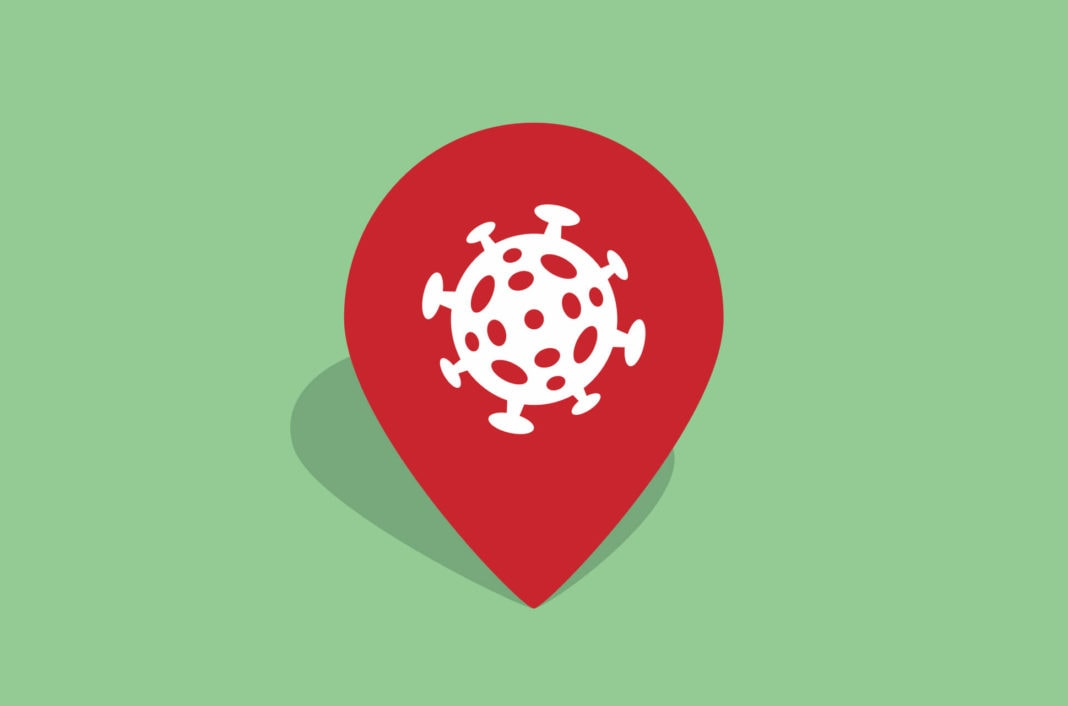 Location symbol with a virus.