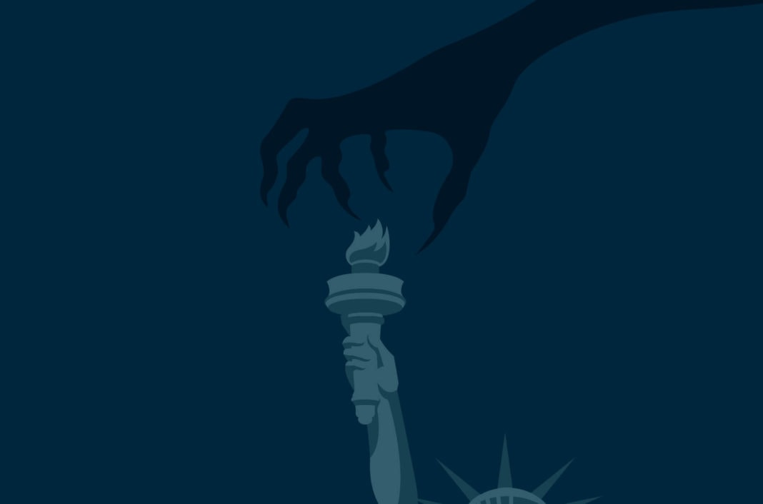 Statue of Liberty torch with a hand reaching down.