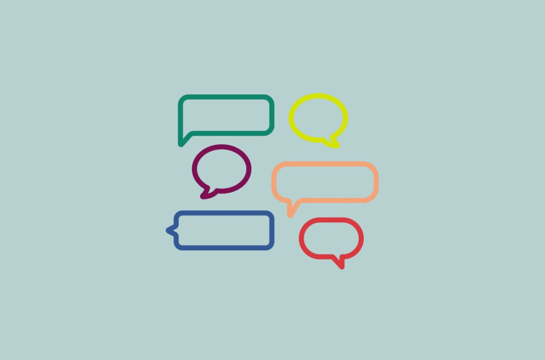 Speech bubbles in various shapes.