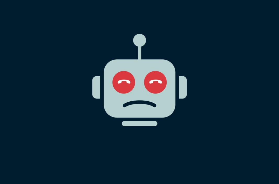 Robot with call symbols for eyes.