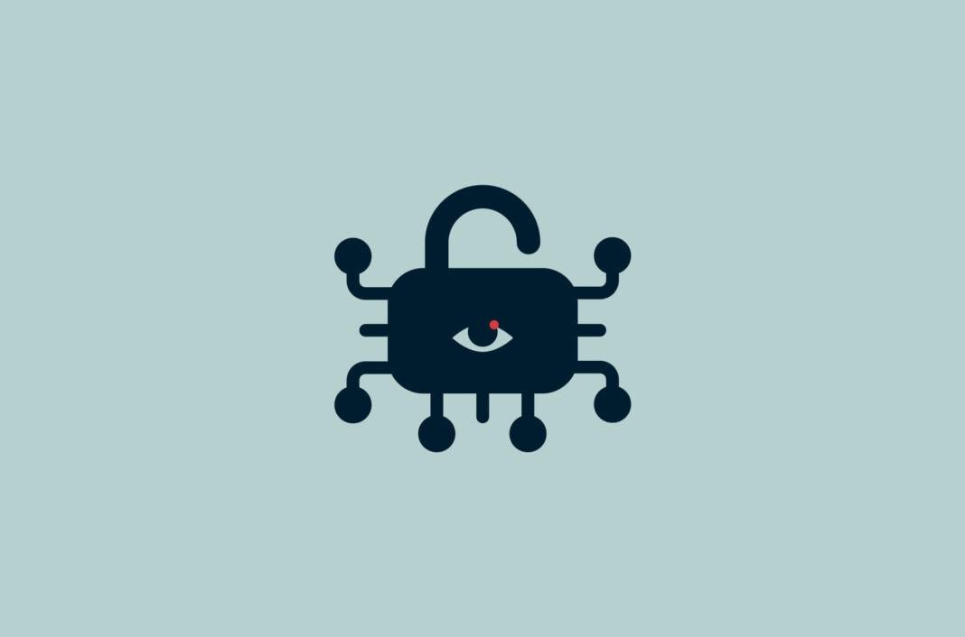 Padlock with eye and circuit nodes.