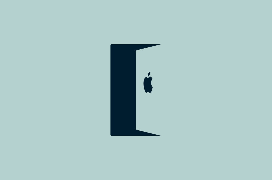 A door with the Apple logo.