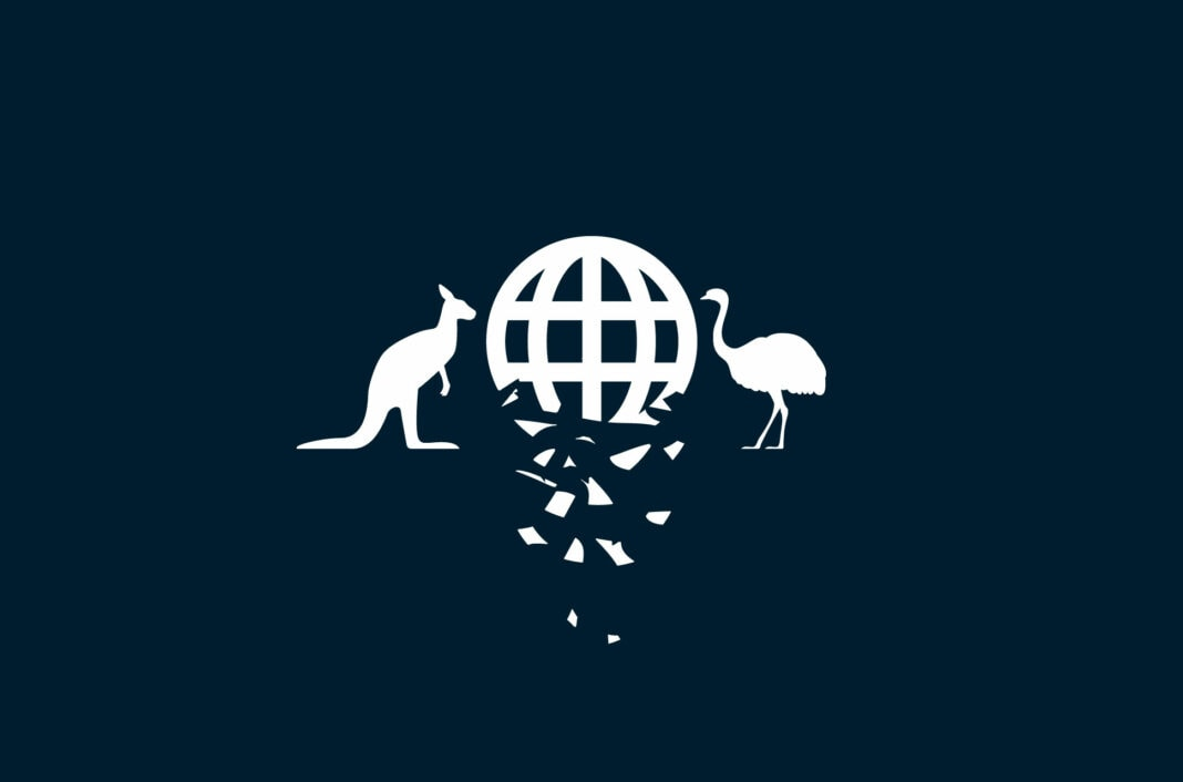 Adaptation of the Australian coat of arms, with crumbling planet.