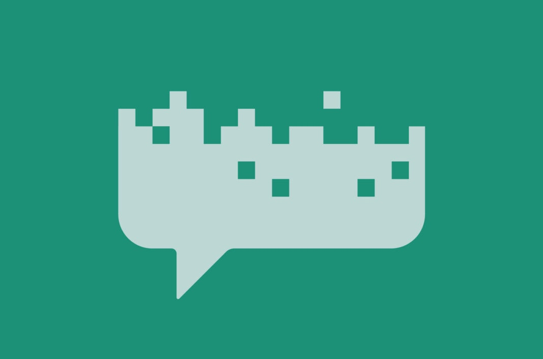 Decaying pixelated speech bubble