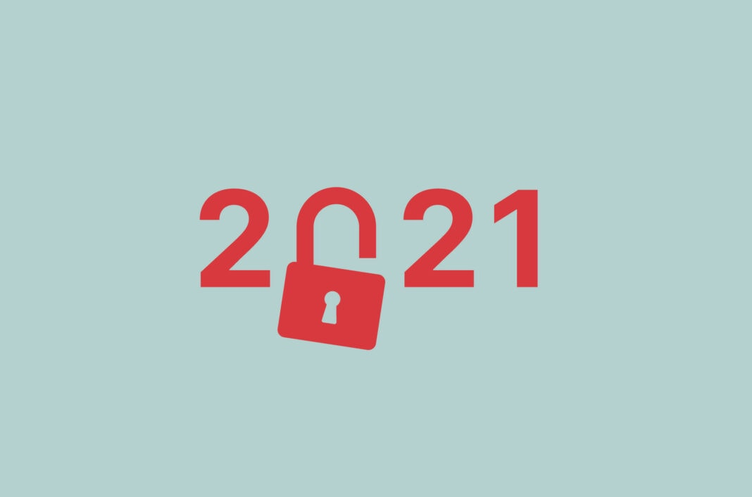 The year 2021 with an open padlock replacing the zero.