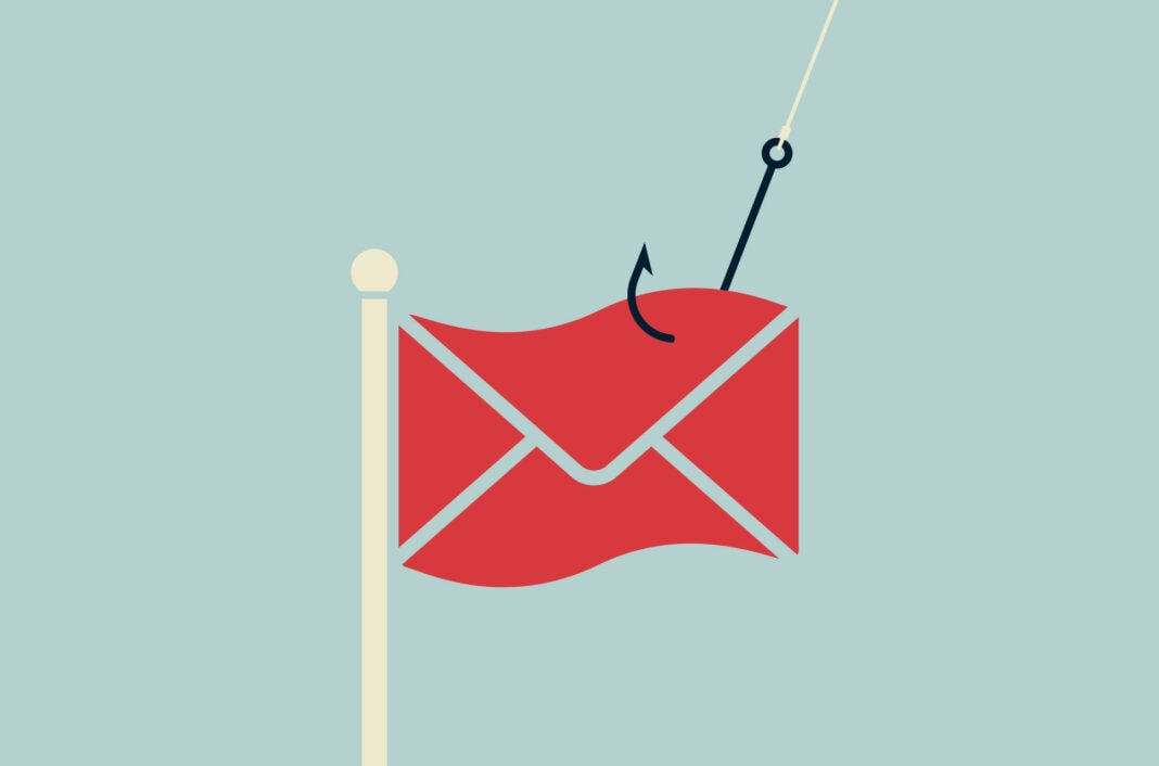 Hook in a phishing email resembling a red flag.