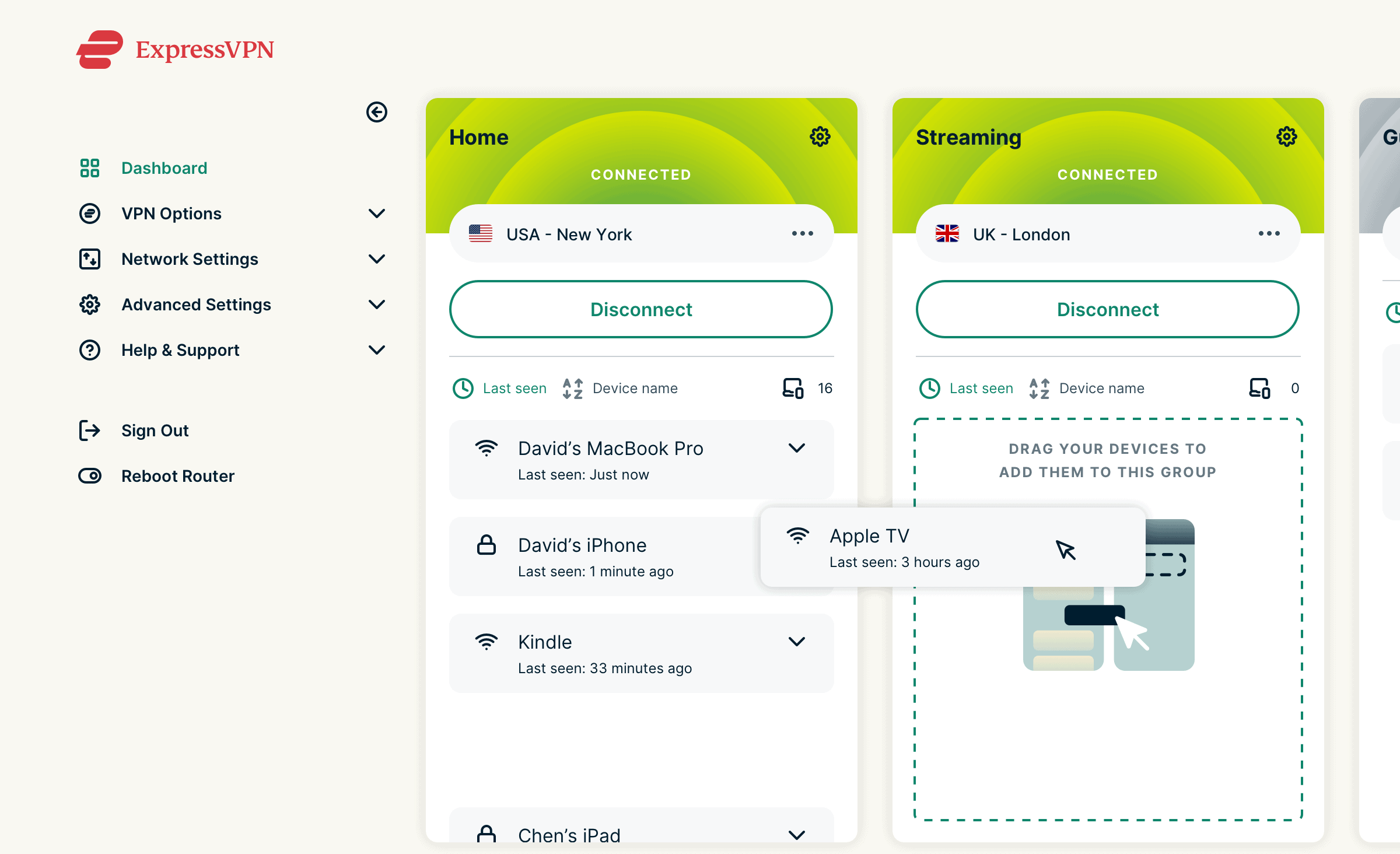 ExpressVPN router app Device Groups user interface.