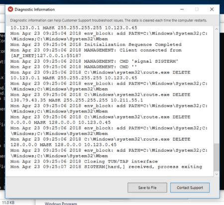 ExpressVPN diagnostics screen.