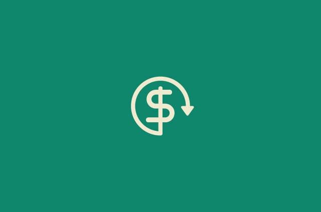 A dollar sign encircled by an arrow.