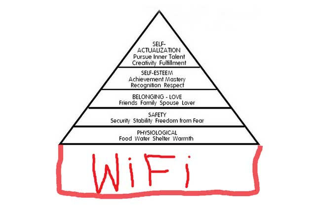 Maslow's hierarchy of needs on a Wi-Fi foundation.