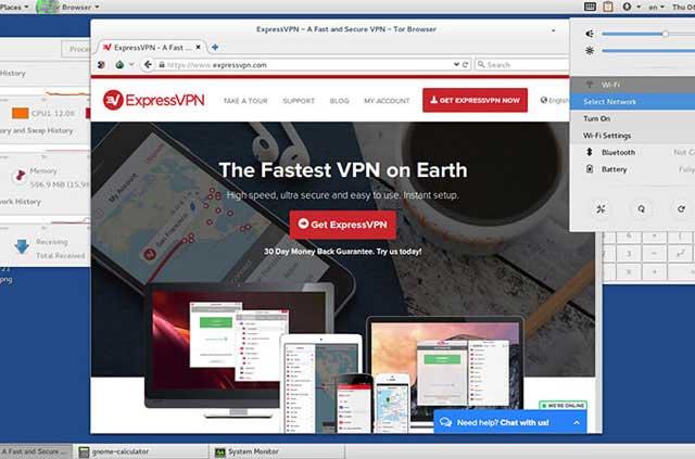 The ExpressVPN website opens on Tails 2.