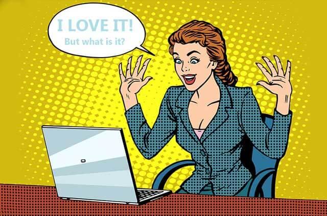 Pop art illustration of woman using laptop.