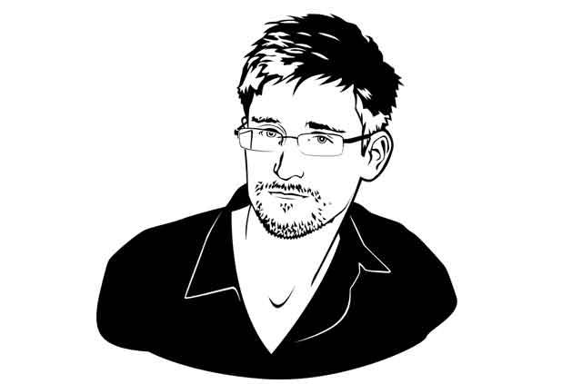 Illustration of Edward Snowden.
