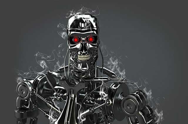 Terminator endoskeleton with smoke.