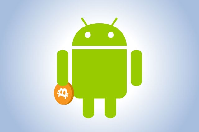 The green Android mascot holding a Bitcoin.