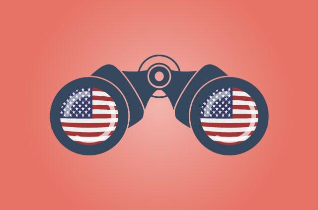 Surveillance binoculars with American flags