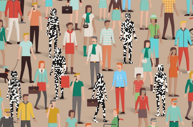 Some pixelated people in a crowd