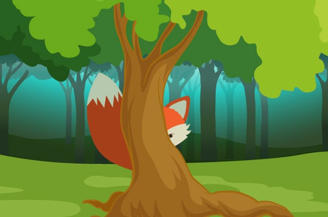 A cartoon fox hiding behind a tree.
