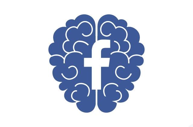 Blue brain with facebook logo