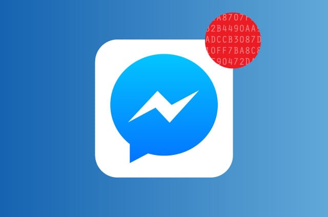 The Facebook Messenger logo with a red dot to indicate a new message has arrived. But there's a twist! The red do features an encryption key.