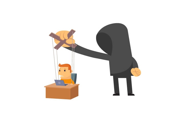 An illustration of a man in a hoodie using puppet strings on a man sat at a desk.