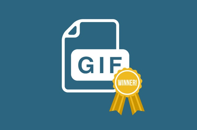 A GIF file image with a yellow ribbon on it.