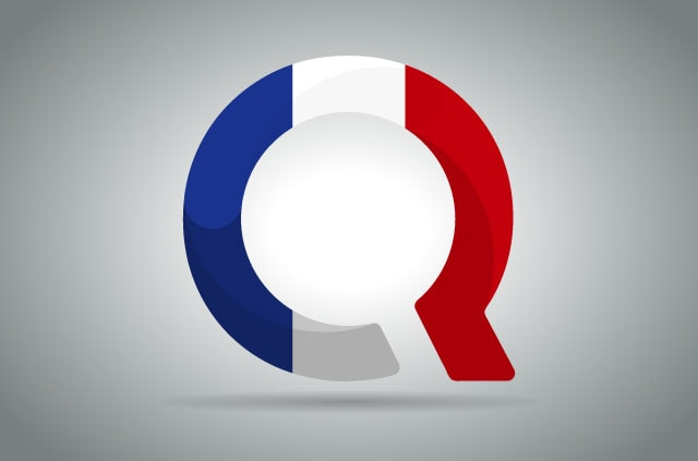 The Qwant logo in the colours of the French flag