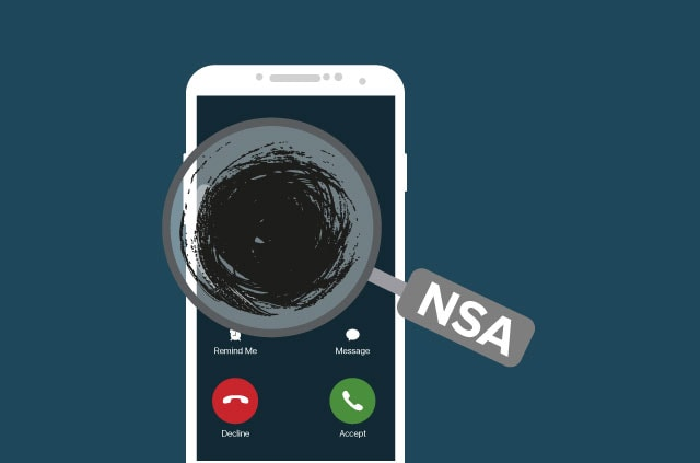 A phone with a magnifying glass showing a black void with NSA on the handle.