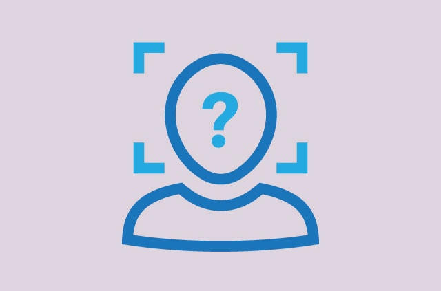 Facial recognition scan with a question mark on the face.