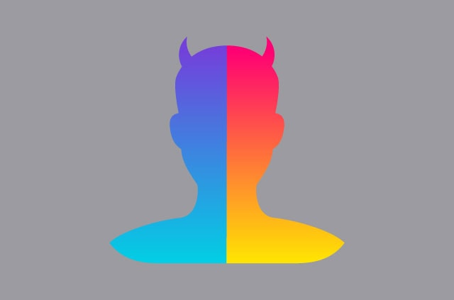 The FaceApp logo, with horns.