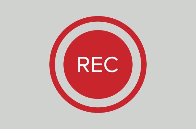 Red circular record button.