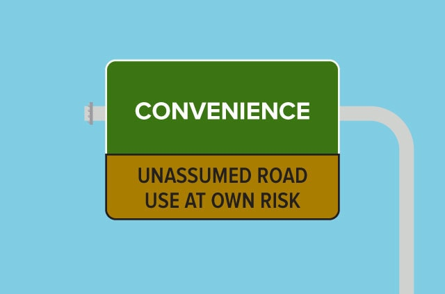 An illustration of a road warning sign that says