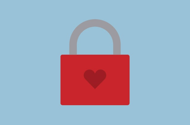 An illustration of a heart-shaped padlock.