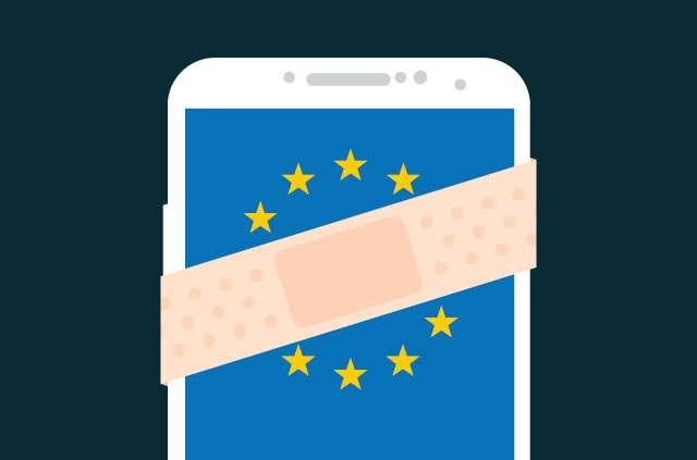 Band-aid over a phone with the EU logo.