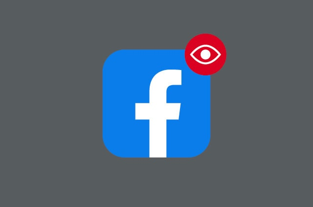 Facebook app icon with surveillance notification alert.