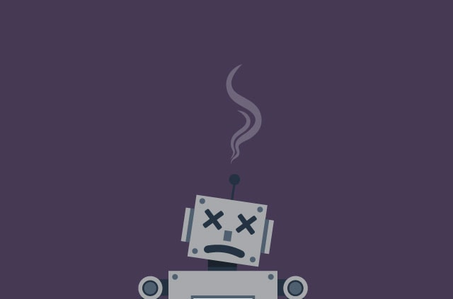A slumped robot with smoke bellowing from it head.